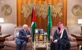 سمو ولي العهد يبحث مع الرئيس الفلسطيني مستجدات الأوضاع بالأراضي الفلسطينية