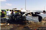 طريق الموت ببارق : يشهد حادثاً مأساوياً ويصرع 4 أشخاص في تصادم لثلاث سيارات ,,صور