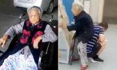 شاب يحول نفسه كرسيا لوالدته المسنة