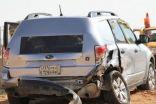 """بالصور: سيارة مسرعة تحطم مركبة تابعة لـ""""ساهر"""" على طريق أبو حدرية"""